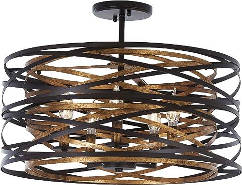 lowest Minka Lavery Farmhouse Semi Flush Mount Ceiling Light high quality 4671-111 Vortic Flow Lighting Fixture, 5-Light sale 300 Watts, Dark Bronze outlet sale