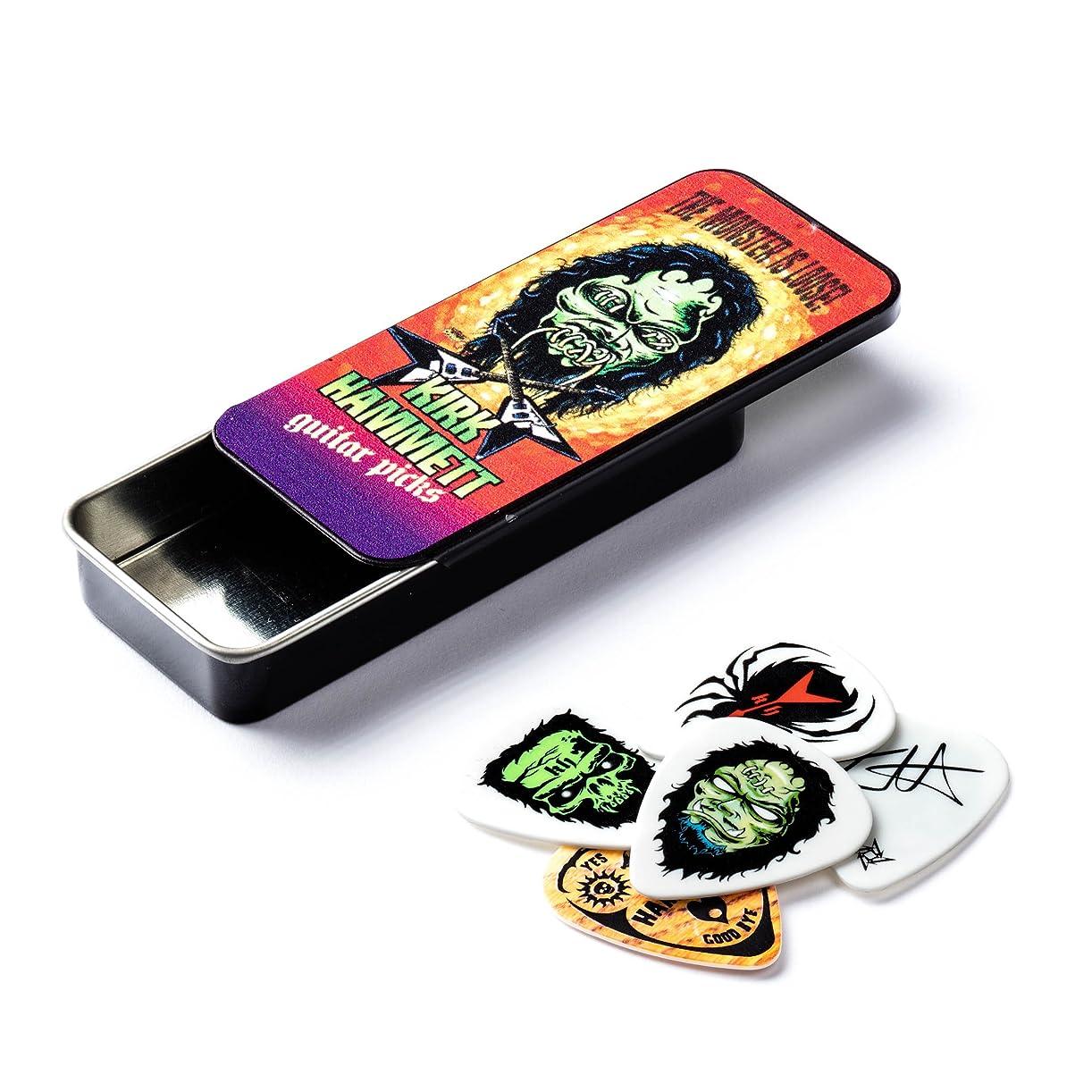 目立つ肉の一部Jim Dunlop (ジム ダンロップ)  カーク ハメット ピック & ケース セット Kirk Hammet Collectible Pick Tin