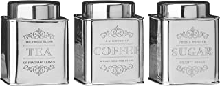 Premier Housewares Coffee Tea Sugar Set Stainless Steel Sugar Tea And Coffee Containers Grey Tea Coffee And Sugar Canister...