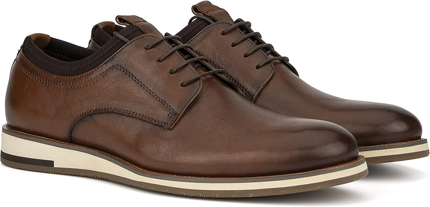 Vintage Foundry Co. Bernard Men's Fashion Handcrafted Casual Oxford Leather Derby Lace Up, Round Toe, Rubber Outsole