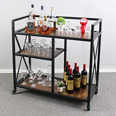 MkGooLif Industrial Kitchen Islands Carts,Bar Serving Cart with Wine Rack,Wine Carts with Wheels for Kitchen, Metal Serving Cart and Kitchen Storage Cart with 3 Shelves,Brown