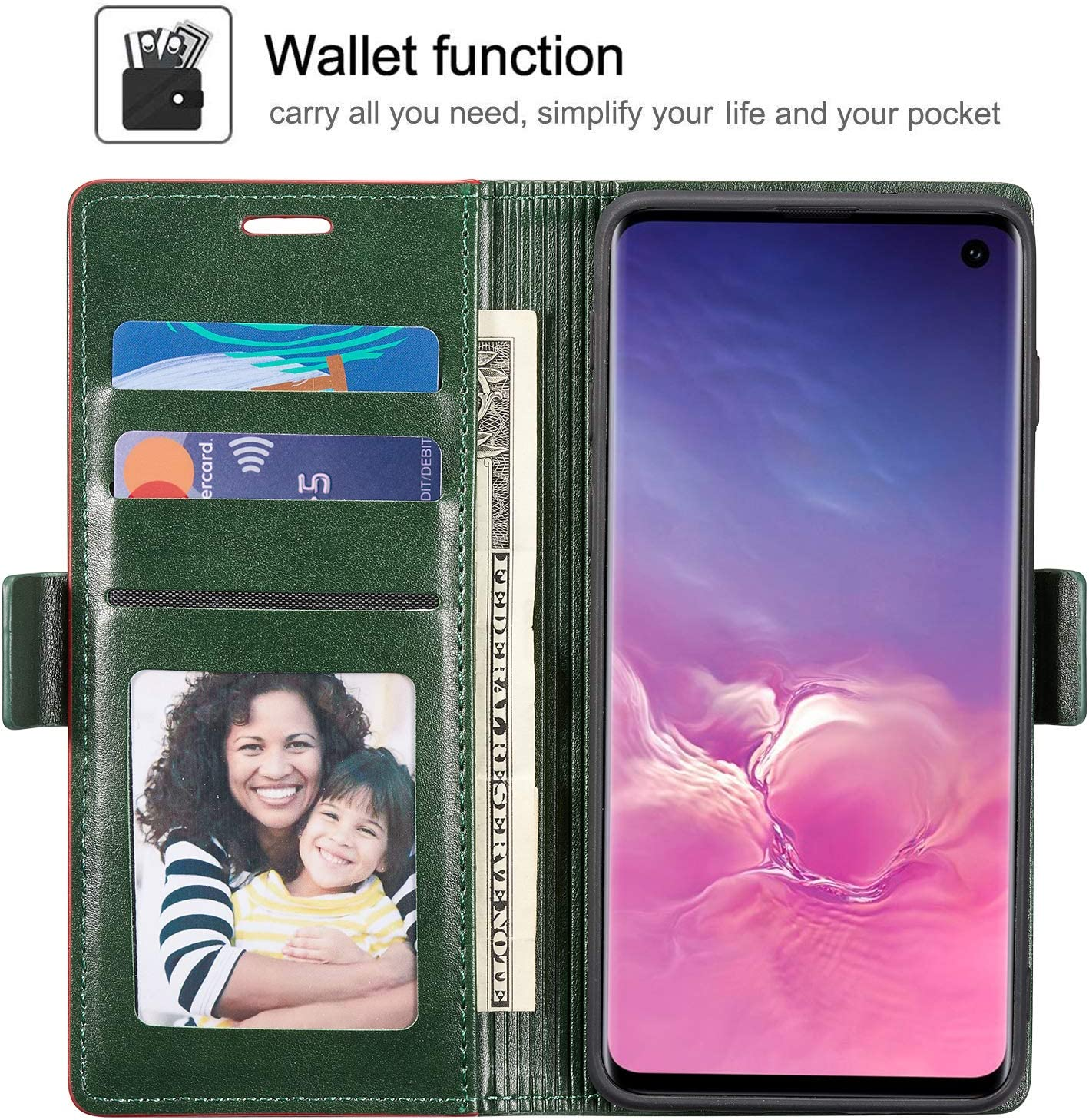 Premium Soft Leather Wallet Case with Card Holder Kickstand Magnetic Closure Protective Flip Cover for Samsung Galaxy S10 Plus QLTYPRI Case for Samsung Galaxy S10 Plus Rose Gold