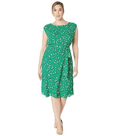 LAUREN Ralph Lauren Plus Size Floral Georgette Dress (Cambridge Green Multi) Women