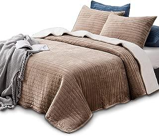 KASENTEX Plush Poly Velvet Lavish Design Quilt Set with Reversible Shu Velveteen Sherpa - Luxurious Bedding Soft & Warm Comforter Machine Washable Comforter (Taupe Brown, King + 2 Shams)