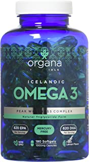 Omega 3 Fish Oil in Triglyceride Form - 180 1000mg Softgels - Triple Strength Burpless Lemon Flavored Ultimate Supplement ...