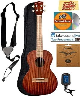Kala MK-T Makala Tenor Ukulele Bundle with Gig Bag, Tuner, Strap, Aquila Strings, Online Lessons, Austin Bazaar Instructional DVD, and Polishing Cloth