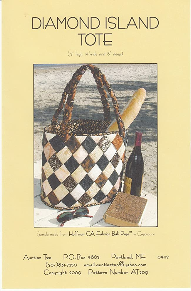 Diamond Island Tote Pattern, by Aunties Two, Batik Friendly, Finished Tote 12