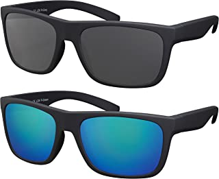 La Optica B.L.M. - La Optica Gafas de Sol LO8 UV400 Deportivas da Hombre y Mujer, Goma Negro (Lentes: 1 x Gris, 1 x Verde espejada)