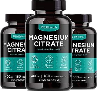 Cápsulas de polvo de citrato de magnesio 400 mg (paquete de 3) - [180 Count] Suplementos puros sin OGM - Natural Sleep Cal...