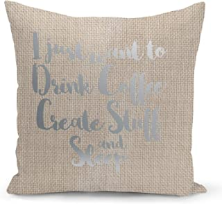 Creativity Creators Designers Beige Linen Pillow with Metalic Silver Foil Print Coffee Sleep Pillow Couch Pillows