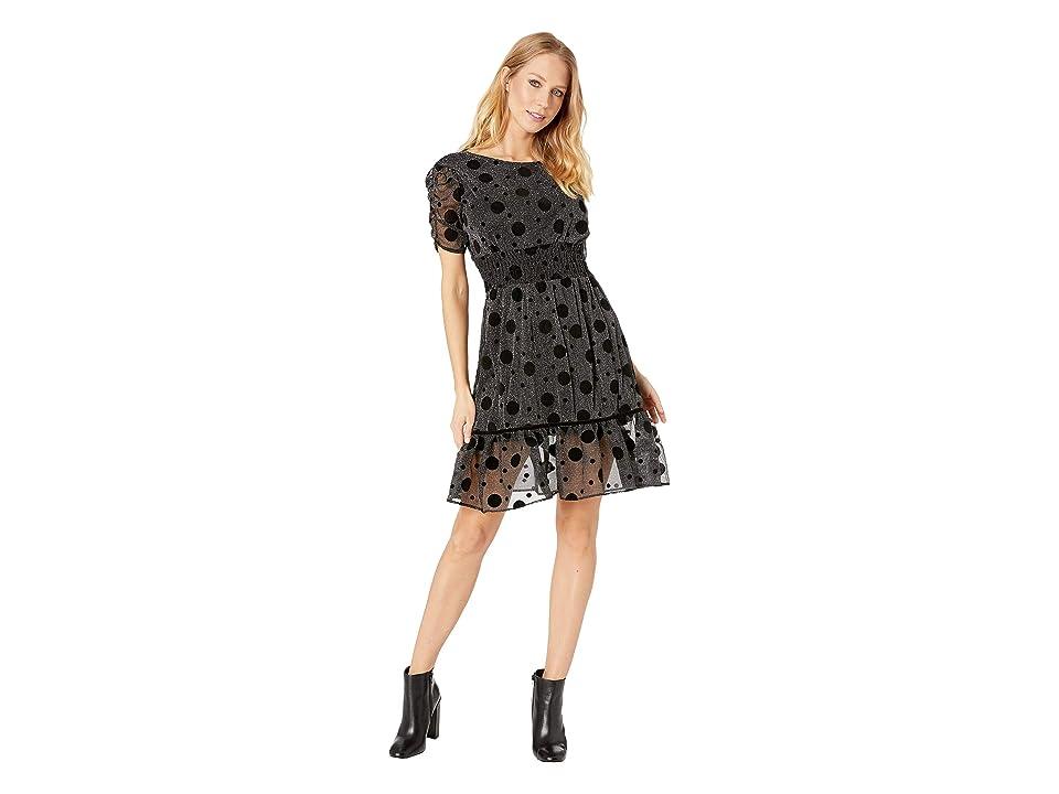 Betsey Johnson Metallic Dot Dress (Black/Silver) Women