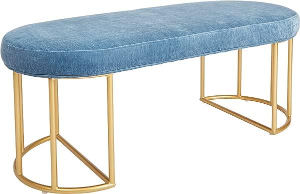 Ave Six KNY48 V19 Kinsley Bench Royal Blue With Gold Frame