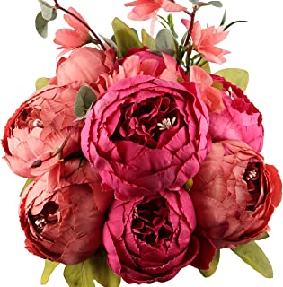 LeagelFake Flowers Vintage Artificial Peony Silk Flowers Bouquet Wedding Home Decoration, Pack of 1 (New Red)
