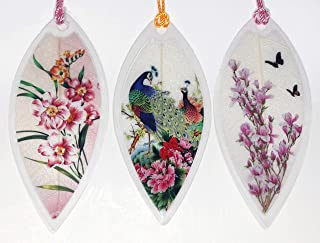 Lucore Leaf Bookmarks - Peacocks and Pink Flowers Asian Painting Lucky Charm, Ornament, Hanging & Wall Decor, Art Decoration - 3 Pcs, Made of Real Leaves
