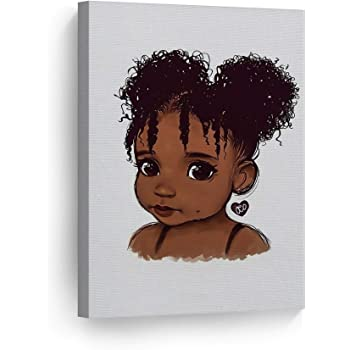 Amazon Com Smileartdesign Pure African Girl Cute Curly Hair White Background Digital Painting Canvas Print Cartoon Kids Room Wall Art American Nursery Kids Room Art Home Decor Ready To Hang Made In Usa