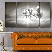 Designart MT13126-271 Horses Running Through Water - Oversized Animal Metal Wall Art,White,48x28