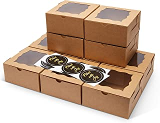 FREVES Brown Bakery Boxes - 50 Pack - Bakery Box with Window - Desserts, Soaps, Gifts - Free Stickers - Easy Assembly - Du...
