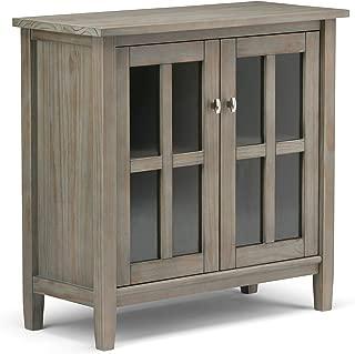 Simpli Home AXWSH009-GR Warm Shaker Solid Wood 32 inch Wide Rustic Low Storage Cabinet in Distressed Grey