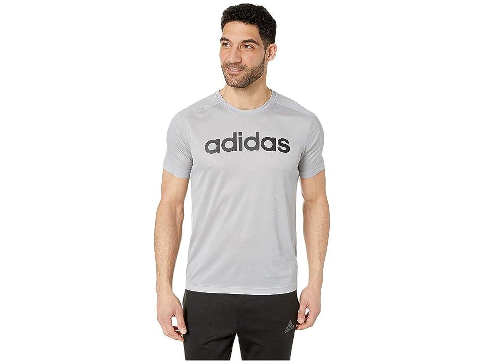 adidas Designed To Move Big Logo Tee (Medium Grey Heather/Black) Men's T Shirt