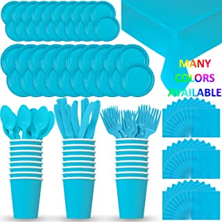 HeroFiber Disposable Paper Dinnerware for 24 - Aqua / Island Blue - 2 Size Plates, Cups, Napkins , Cutlery (Spoons, Forks, Knives), and tablecovers - Full Party Supply Pack