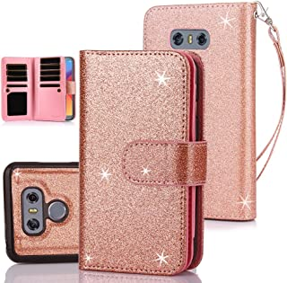 TabPow LG G6, LG G6 Plus Case, 10 Card Slot - ID Slot, Button Wallet Folio PU Leather Case Cover with Detachable Magnetic Hard Case for LG G6 (2017) / LG G6 Plus - Glitter Rose Gold