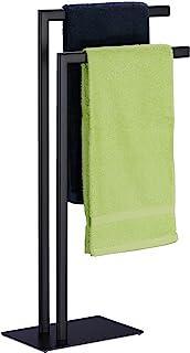 Relaxdays Towel Rail Freestanding 2 Bars Bathroom Steel H81 x W49 x D20 cm Bathroom Towel Rail Black