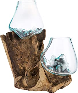 MyGift 2 Clear Handmade Molten Glass Terrarium Bowls with Natural Teakwood Root Base
