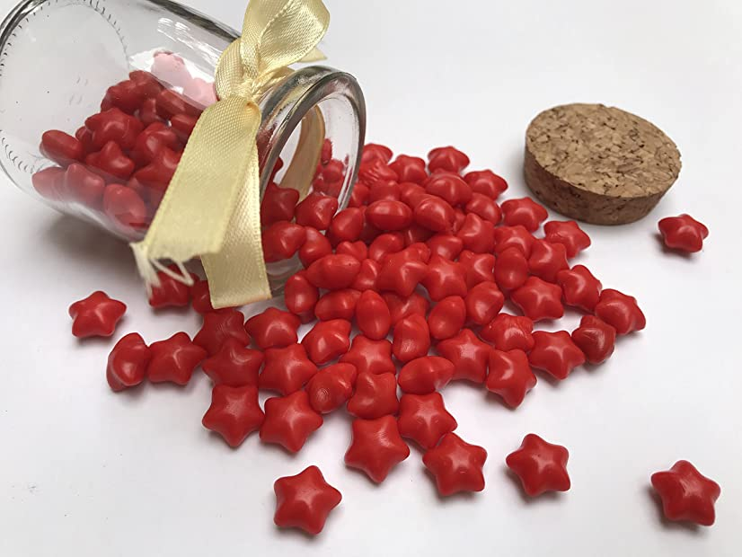 Greenter Sealing Wax Beads Lucky Star Shape For Wax Seal Stamp 110 Pieces (Red, 110 Pieces)