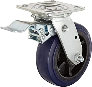 RWM Casters 46 Series Plate Caster, Swivel with Face Contact Nylon Brake, Urethane on Polypropylene Wheel, Roller Bearing, 900 lbs Capacity, 6