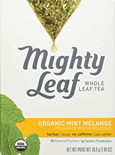 Mighty Leaf Organic Tea, Mint Melange, 15-Count Whole Leaf Pouches 1.32 Ounce