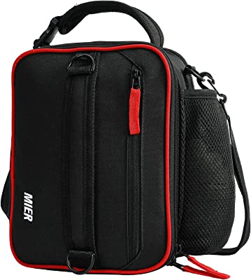 MIER Expandable Lunch Bag Insulated Lunch Box for Men Boys Teens to Work School Travel, Multiple Pockets Portable Lunchbox Bags with Shoulder Strap (Black/Red)