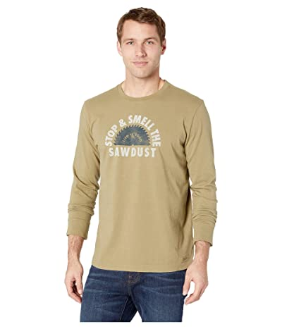Life is Good Stop and Smell the Sawdust Crushertm Long Sleeve Tee (Fatigue Green) Men