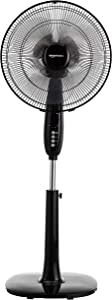 AmazonBasics Oscillating Dual Blade Standing Pedestal Fan with Remote - 16-Inch
