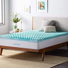 Linenspa LS30TX30CSGT 3 Inch Convoluted Gel Swirl Memory Foam Mattress Topper - Promotes Airflow - Relieves Pressure Points - Twin XL