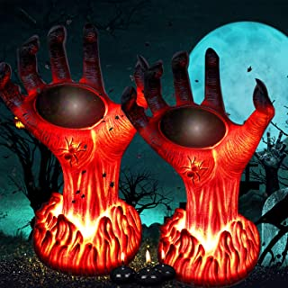 TONULAX Halloween Decoration Lights Outdoor, Solar Powered Burning Witch Hand Lights, Flickering Flame Lantern Lights, Sup...