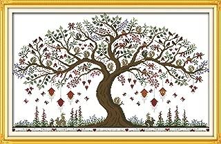YEESAM ART New Cross Stitch Kits Advanced Patterns for Beginners Kids Adults - Love Tree 11 CT Stamped 79×52 cm - DIY Needlework Wedding Christmas Gifts