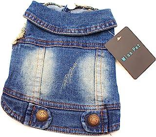 MISSPET Soft Blue Jeans Denim Cute Pet Dog Puppy Coat Jacket Clothes Costume Apparel Hoodies for Small Medium Dogs S Blue ...