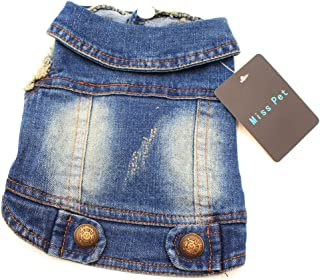 MISSPET Soft Blue Jeans Denim Cute Pet Dog Puppy Coat Jacket Clothes Costume Apparel Hoodies for Small Medium Dogs