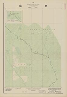 Map - International Boundary, From The St. Lawrence River To The Source Of The St. Croix River, Sheet No. 13, NH, 1923 NOAA Topographic - Vintage Poster Wall Art Reprint - 24in x 36in