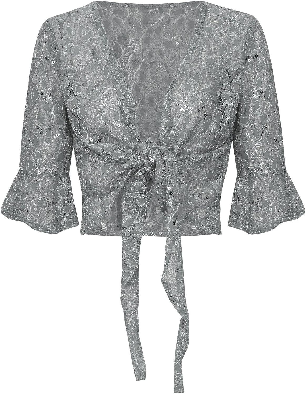 New Womens Ladies Vintage Floral Smart Sequin Bolero Shiny Kimono Shrug Plus Size