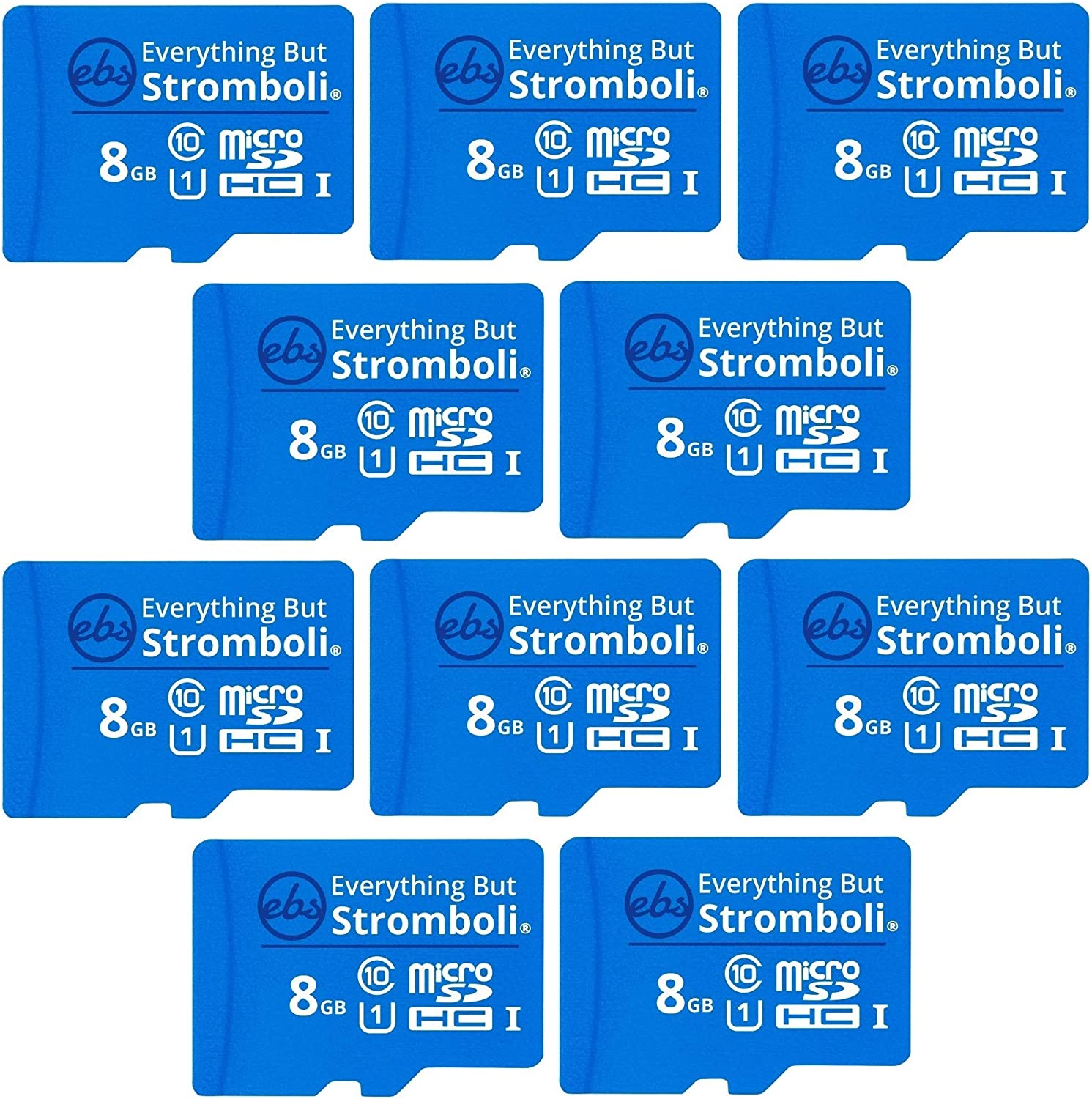 Everything But Stromboli 8GB MicroSD Memory Card Plus Adapter (10 Pack) Class 10, U1, UHS-1, TF Bulk Micro SD Cards for Compatible Dash Cam, GPS, Home Security Cam, Computer, Raspberry Pi, GPS Device