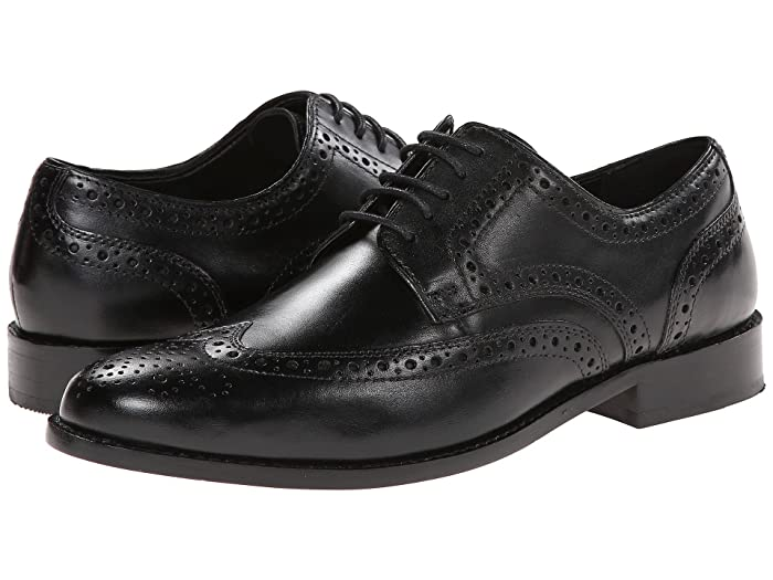 Men's 1950s Shoes Styles- Classics to Saddles to Rockabilly Nunn Bush Nelson Wing Tip Dress Casual Oxford Black Mens Dress Flat Shoes $59.95 AT vintagedancer.com