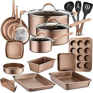 20-Piece Nonstick Kitchen Cookware Set - PTFE/PFOA/PFOS-Free Heat Resistant Lacquer Kitchen Ware Pots Baking Pan Set w/Sau...