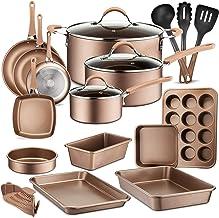 20-Piece Nonstick Kitchen Cookware Set – PTFE/PFOA/PFOS-Free Heat Resistant Lacquer Kitchen Ware Pots Baking Pan Set w/Saucepan – NutriChef