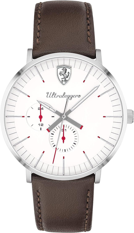 Ferrari Ultraleggero Reloj de cuarzo de acero inoxidable con correa de piel, marrón, 19 (Modelo: 0830568