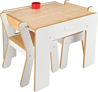 lyrlody Table Chair Sets,3Pcs Kids Children Natural Bentwood Multipurpose Kids Wooden Table and Chair Set for Home School,66/×52/×40cm