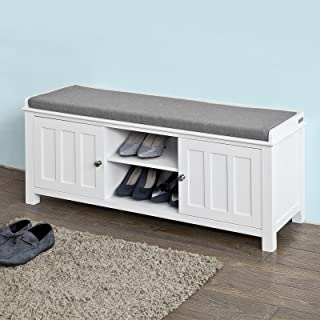 Haotian White Storage Bench With 2 Doors U0026 Removable Seat Cushion, Shoe  Cabinet Shoe Bench