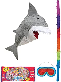 Party City Gray Shark Pinata Supplies, Include a Pinata, a Colorful Pinata Stick, a Blindfold, and 4 Pounds of Candy