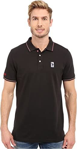 Solid Pique Polo Shirt w/ Color Tipped Collar & Cuffs