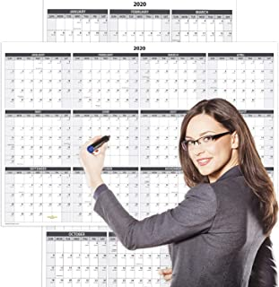 "Delane Annual 2020 Wall Calendar – Wet & Dry Erasable Laminated Annual Calendar - 2-Sided Reversible Vertical/Horizontal Office Monthly Whiteboard Sheet, Mounting Tape Included, 24 x 36"" (White)"